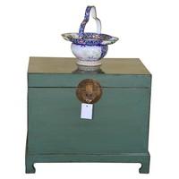 Malle Coffre de Rangement Chinois Antique Menthe - Shanxi L62xP45xH51cm