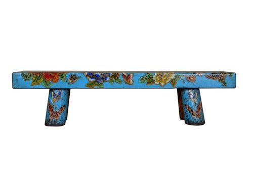 Fine Asianliving Panca di Legno Cinese Tradizionale Fiori e Farfalle Dipinti a Mano Blue Cielo