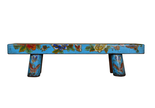 Fine Asianliving Traditional Chinese Bench Hand-painted Flowers and Butterflies Sky Blue