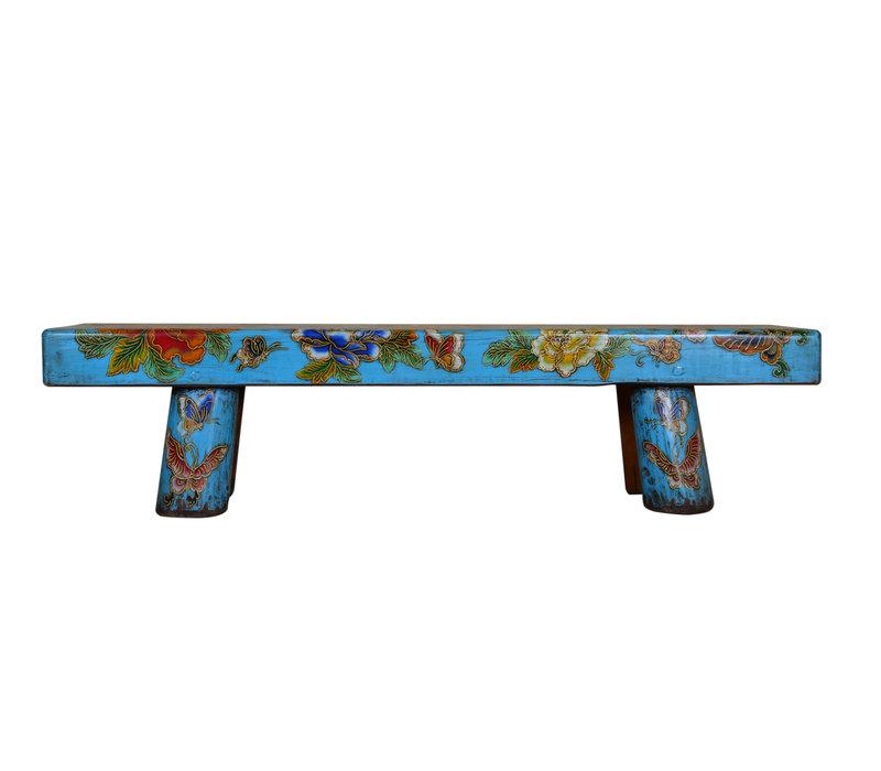 Banco Chino Tradicional con Flores y Mariposas Pintadas a Mano Azul Cielo