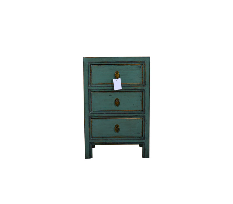 Designed Small Chinese  Cabinet Teal