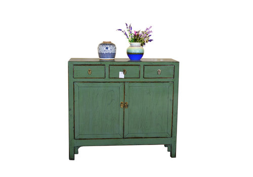 Fine Asianliving Antieke Chinese Dressoir Handgeschilderd Mint - Shanghai