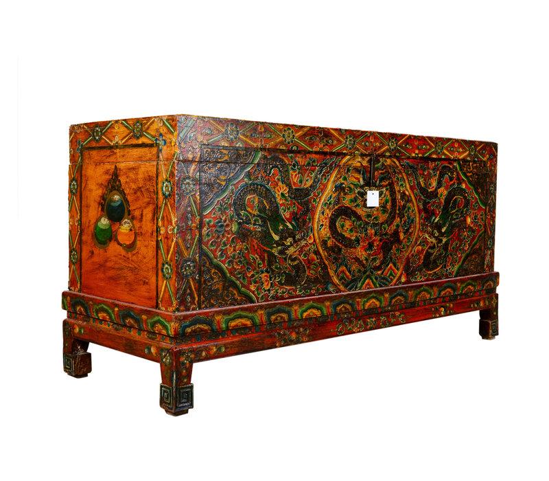 Coffre de rangement tibétain traditionnel antique unique fait à la main - Dragon grand
