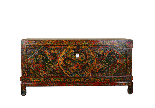 Fine Asianliving Unique Antique Traditional Tibetan Storage Chest Handmade - Dragon Large