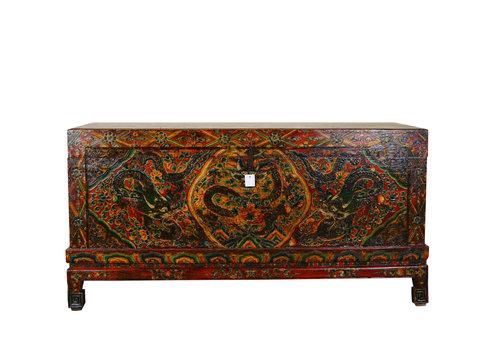 Fine Asianliving Zeldzame Antieke Tibetaanse Kist Handgegraveerd - Keizerlijke Draak