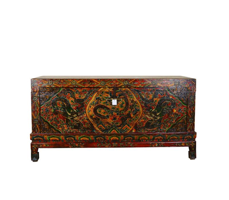 Zeldzame Antieke Tibetaanse Kist Handgegraveerd - Keizerlijke Draak