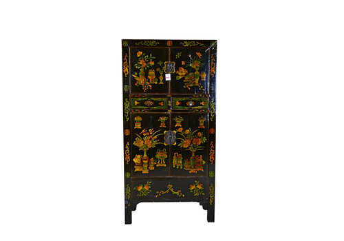 Fine Asianliving Large Antique Chinese Cabinet Hand Painted - Flowers & Vases