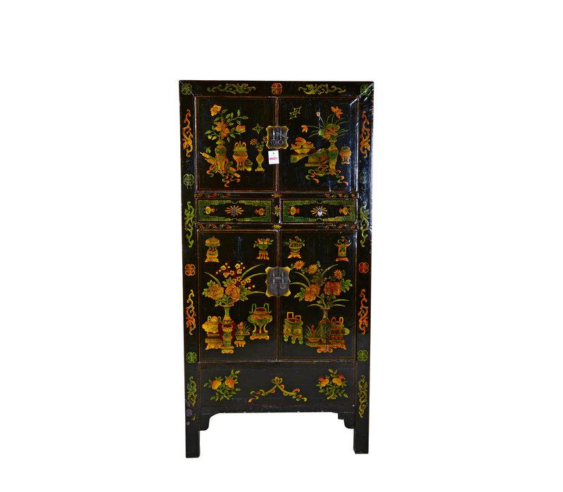 Grand Cabinet Chinois Antique Peint à la Main - Fleurs & Vases