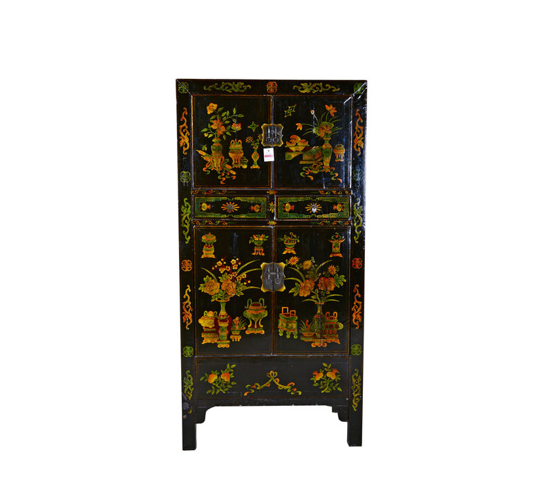 Large Antique Chinese Cabinet Hand Painted - Flowers & Vases