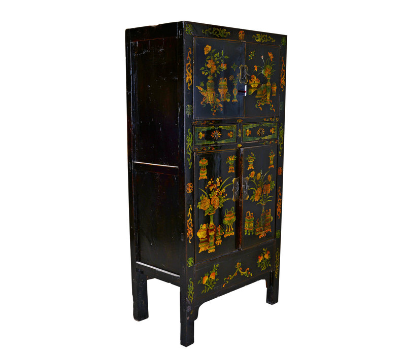 [PREORDER WEEK 48] Antique Chinese Big Cabinet Hand Painted - Flowers & Vases