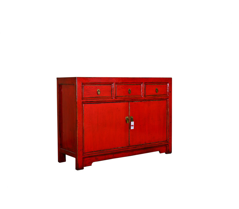 Antique Chinese Sideboard Hand Painted Red - Shanxi