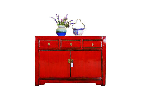 Fine Asianliving Antique Chinese Sideboard Hand Painted Red - Guangxi