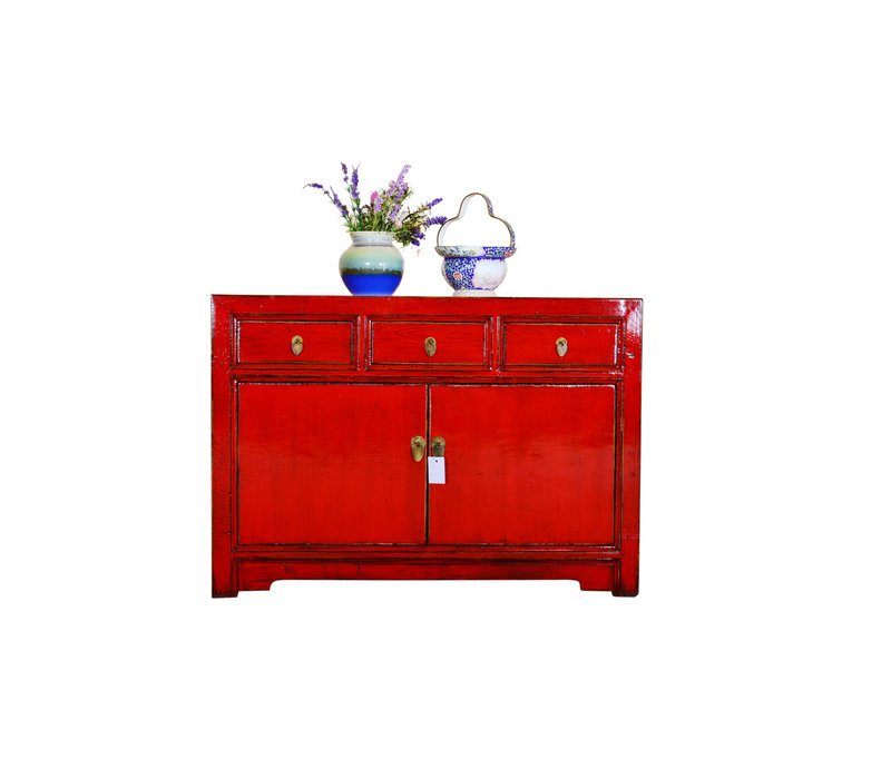 [PREORDER WEEK 48] Antique Asian Sideboard Hand Painted Red - Guangxi