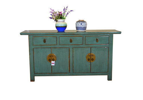 Fine Asianliving [PREORDER WEEK 48] Antique Asian Sideboard Hand Painted Mint - Yangshuo