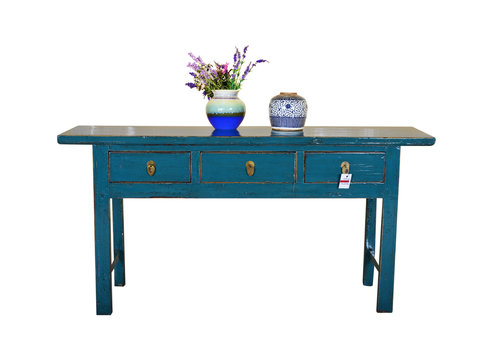 Fine Asianliving Table d'appoint chinoise antique peinte à la main turquoise - Guilin