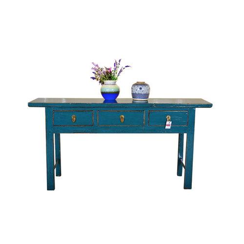 Table d'appoint chinoise antique peinte à la main turquoise - Guilin