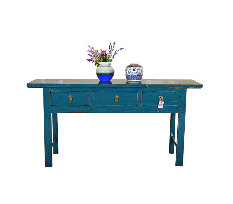 Antique Chinese Sidetable Hand Painted Teal - Guilin