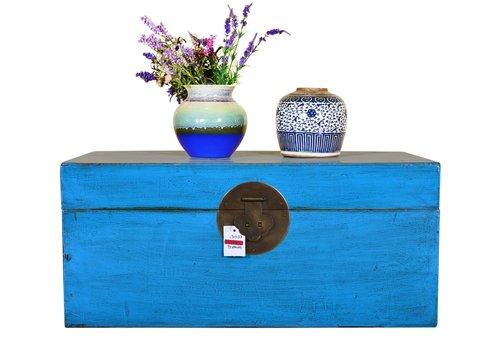 Fine Asianliving Coffre de rangement chinois antique peint à la main bleu