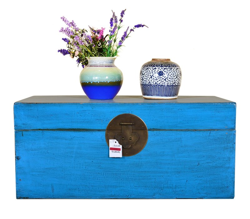 Antique Chinese Storage Trunk Hand Painted Blue