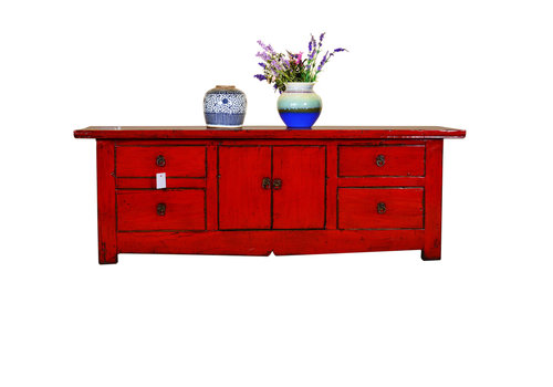 Fine Asianliving Antique Chinese Low Sideboard Hand Painted Red - Chengdu