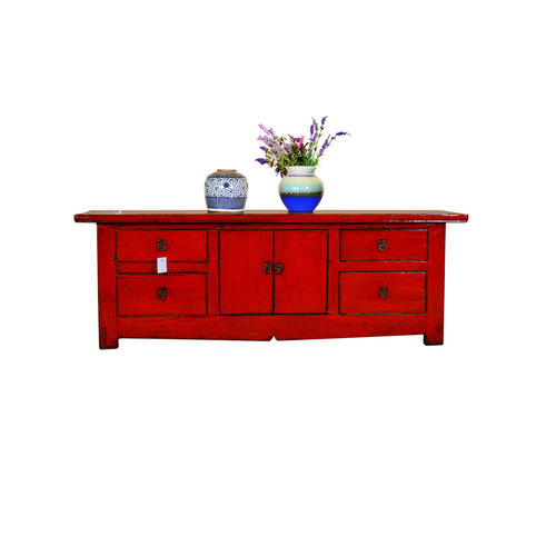 Antique Chinese Low Sideboard Hand Painted Red - Chengdu