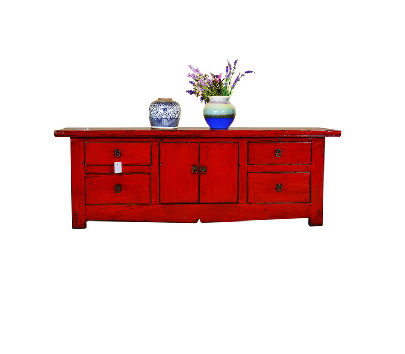[PREORDER WEEK 48] Antique Chinese Low Sideboard Hand Painted Red - Chengdu