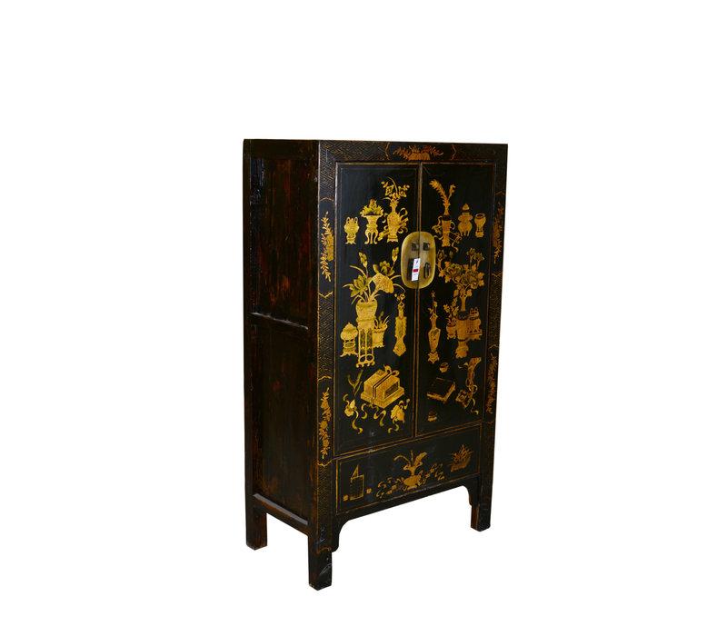 Armario Chino Antiguo Tradicional Pintado a Mano Negro y Oro