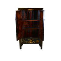 Antiker Chinesischer Schrank Handbemalt Schwarz und Gold