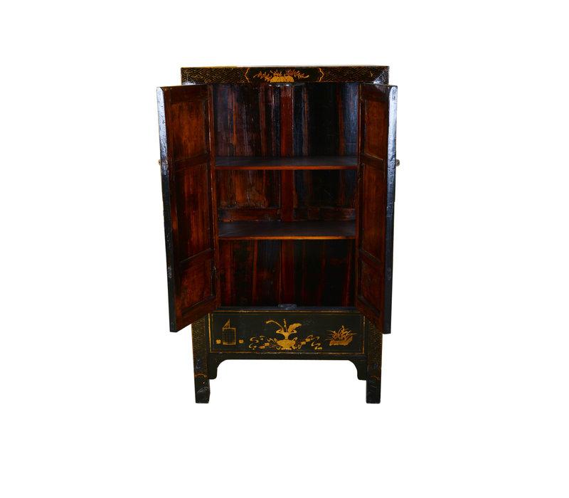 Armoire Chinoise Traditionnelle Antique Peinte à la Main en Noir et Or