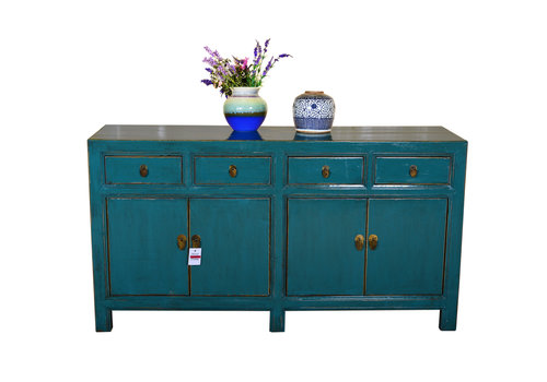 Fine Asianliving Antique Traditional Chinese Sideboard Hand Painted Teal