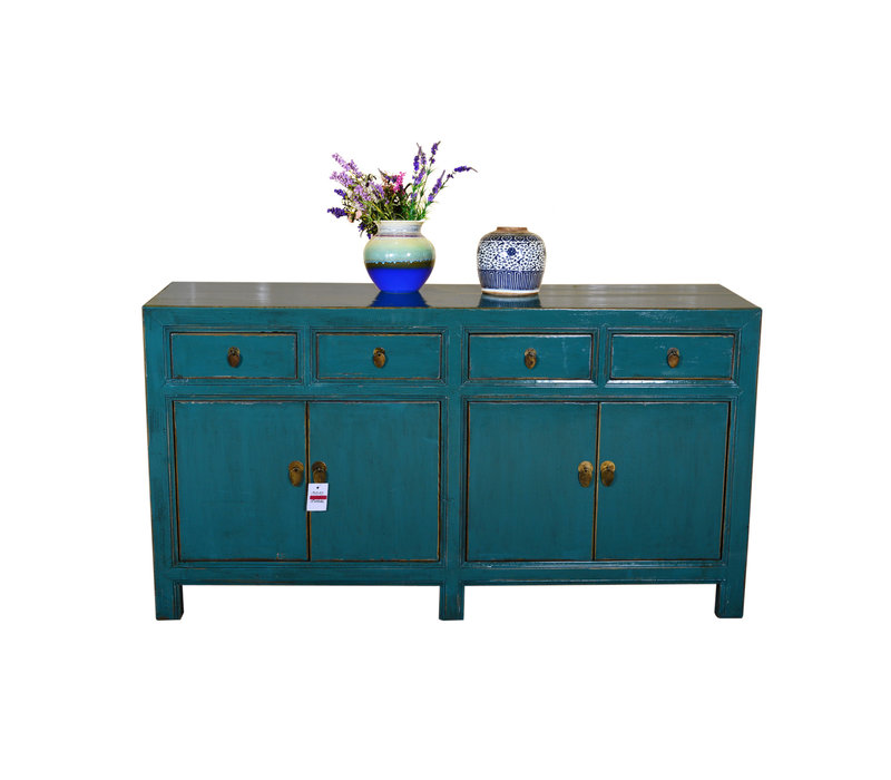 [PREORDER WEEK 48] Antique Traditional Chinese Sideboard Hand Painted Teal
