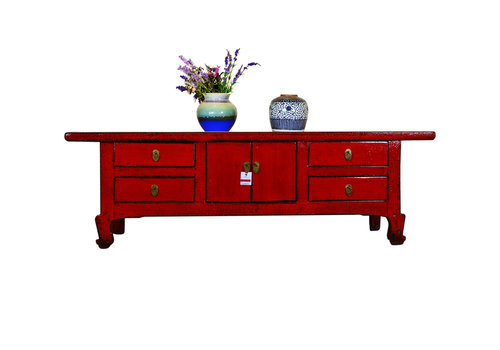 Fine Asianliving Antique Chinese Low Sideboard Hand Painted Red - Chongqing