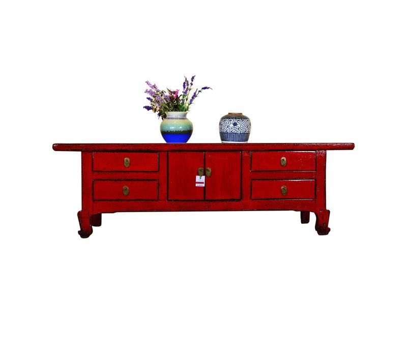 Antieke Chinese TV Kast Laag Handbeschilderd Rood
