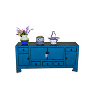 [PREORDER WEEK 48] Antique Designed Chinese Low Sideboard Hand Painted Blue