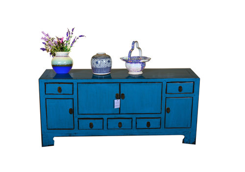 Fine Asianliving Antique Designed Chinese Low Sideboard Hand Painted Blue
