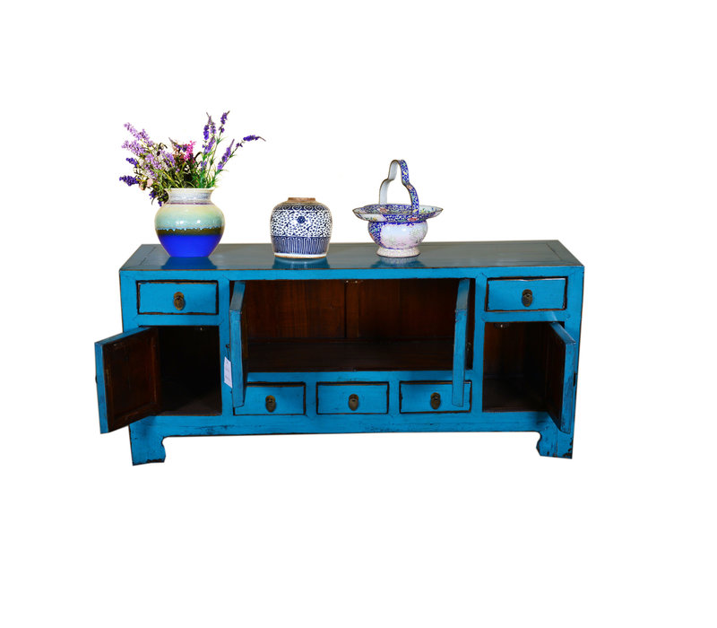 Antique Designed Chinese Low Sideboard Hand Painted Blue