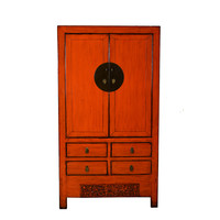 Antique Chinese Wedding Cabinet Marmelade Red W103xD50xH188cm