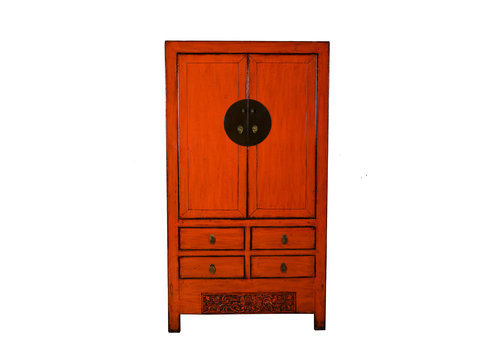 Fine Asianliving Antique Chinese Wedding Cabinet Marmelade Red W103xD50xH188cm