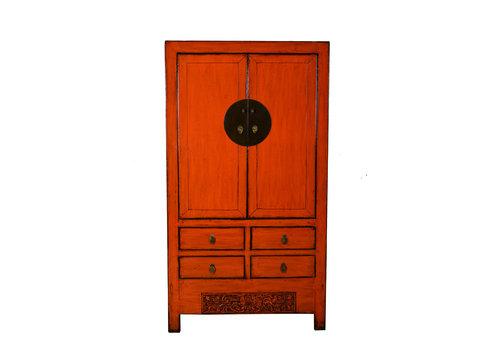 Fine Asianliving Armoire de Mariage Chinoise Antique Marmelade Rouge L103xP50xH188cm