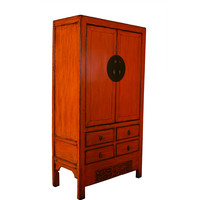 Antique Classical Designed Chinese Cabinet Hand Painted Red - Yunnan