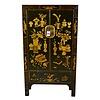 Fine Asianliving Armario Chino Antiguo Tradicional Pintado a Mano Negro y Oro