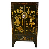 Antique Traditional Chinese Cabinet Hand Painted Black and Gold