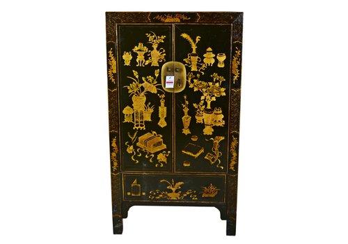 Fine Asianliving Antiker Chinesischer Schrank Handbemalt Schwarz und Gold
