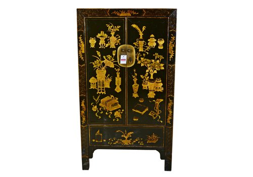Fine Asianliving Antique Traditional Chinese Cabinet Hand Painted Black and Gold