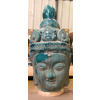 Fine Asianliving Boeddha Hoofd Aardewerk Blauw 16x16x32cm