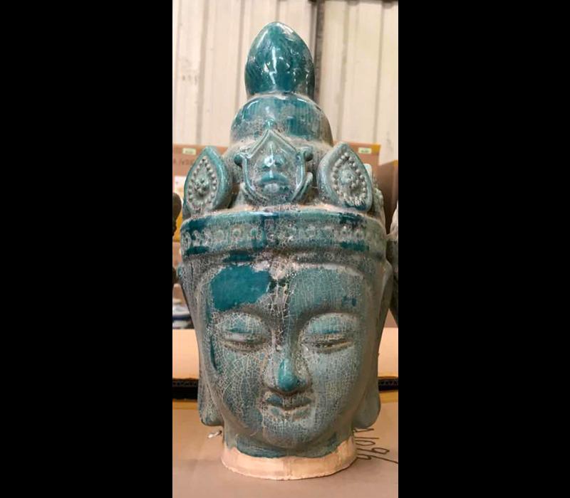 Boeddha Hoofd Aardewerk Blauw