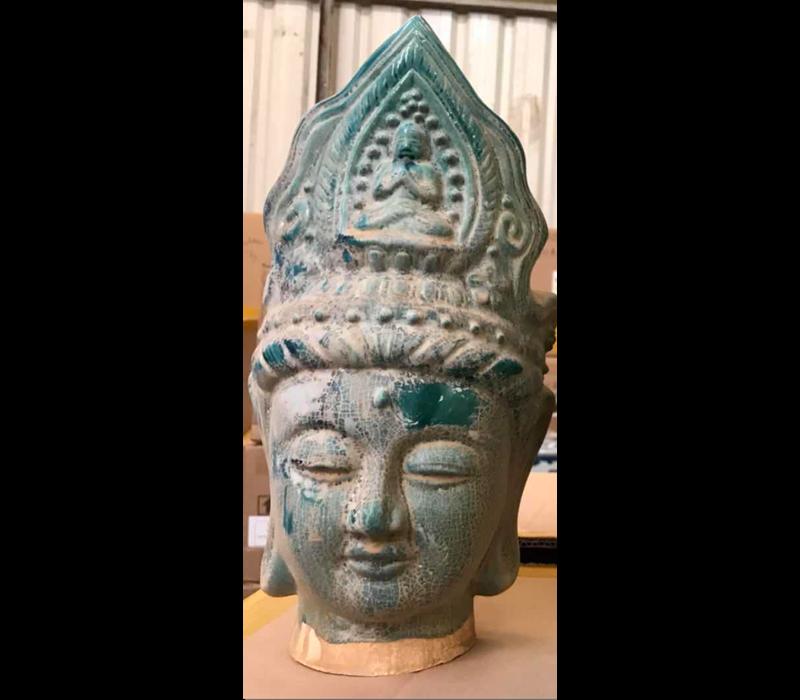 Boeddha Hoofd Aardewerk Blauw 16x16x32cm