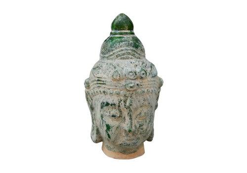 Fine Asianliving Boeddha Hoofd Aardewerk Blauw Groen 16x16x32cm