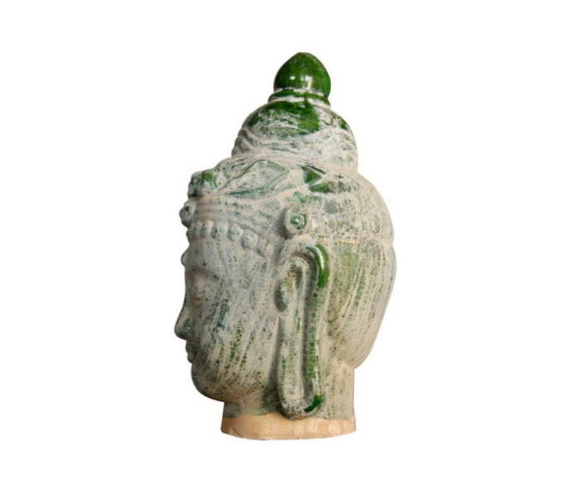 Boeddha Hoofd Aardewerk Blauw Groen 16x16x32cm