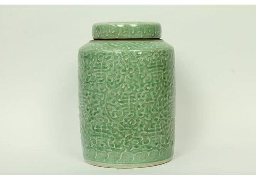 Fine Asianliving Chinese Gemberpot Langleven Handbeschilderd Craque Mint 19x19x28cm